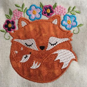 Picture of completed sleeping fox machine applique design