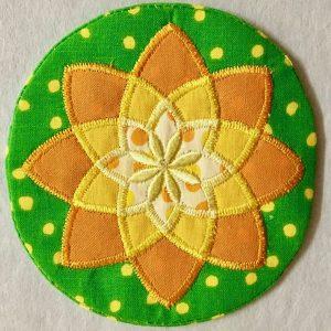 Mini mandala applique coaster by Flowerdog Designs