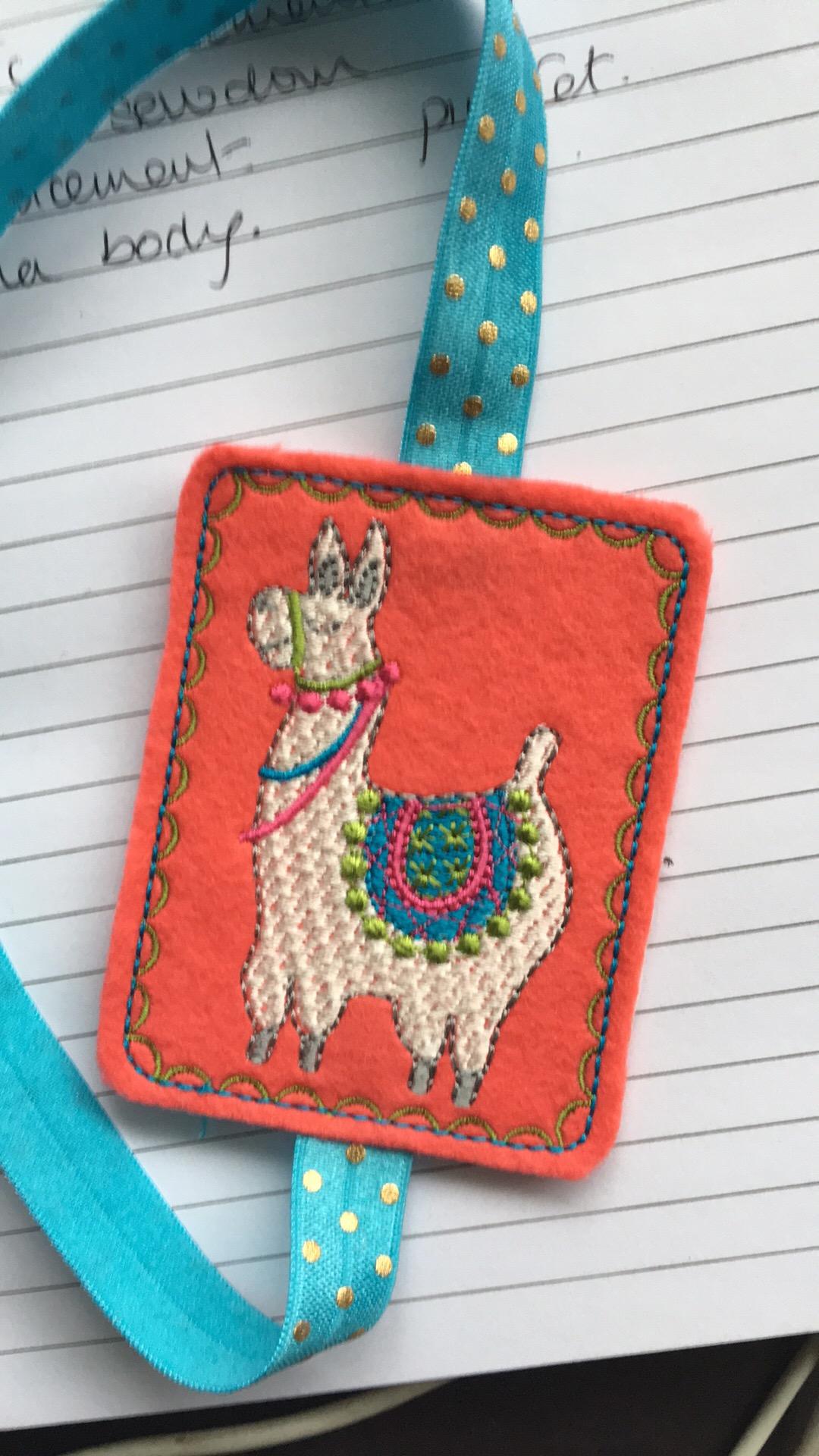 Llama book band machine embroidery design