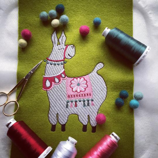 Fernando the llama embroidery design