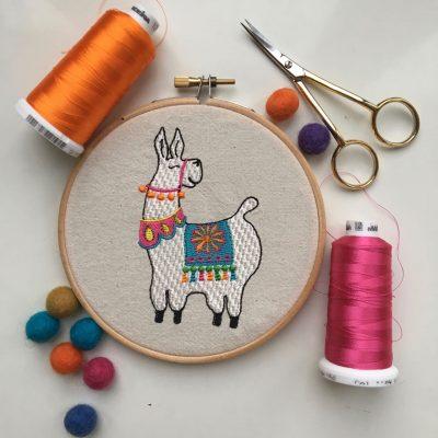 Llama machine embroidery in hoop