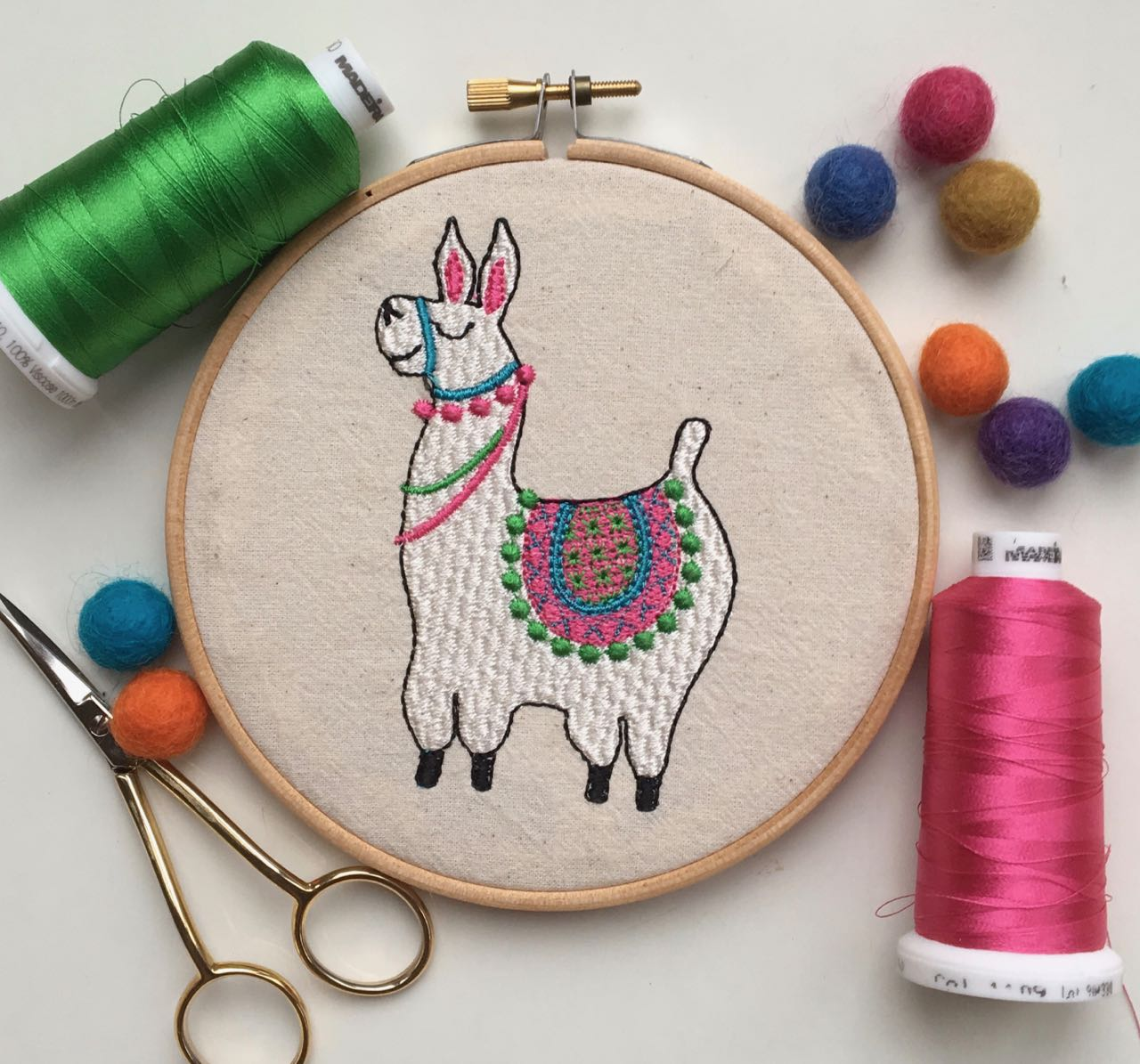 Jose the Llama machine embroidery design multi size 4×4 3×5 5×7