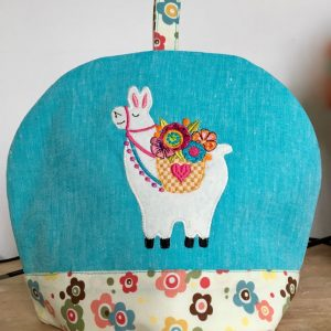 Applique llama tea cozy