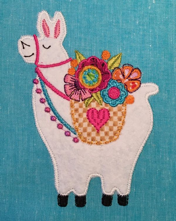 Llama digital machine applique design