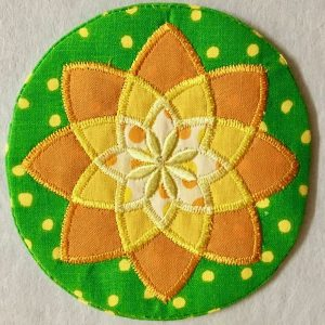 Mini mandala applique coaster by Flowerdog Designs