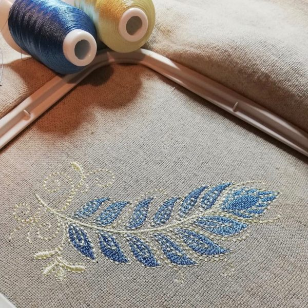 blue feather test stitch out