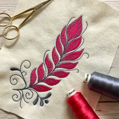 feather machine embroidery design 5x7
