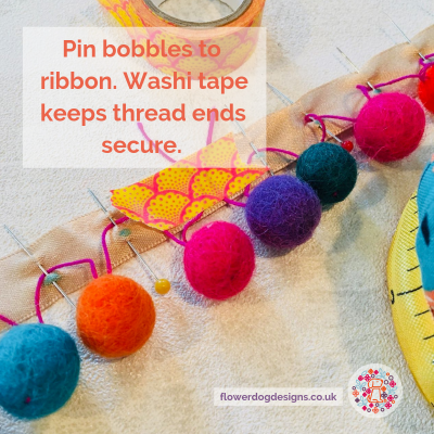How to make bobble trim from felt balls