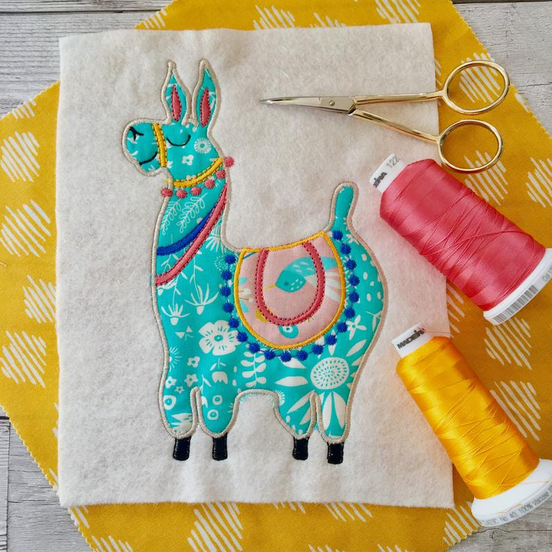 Llama digital machine applique design 4×4 3×5 4×6 5×7