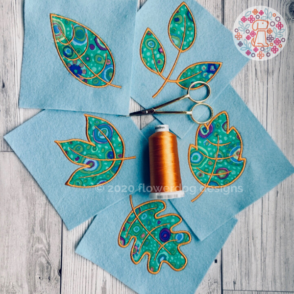 set of 5 leaf applique digital designs for embroidery machines